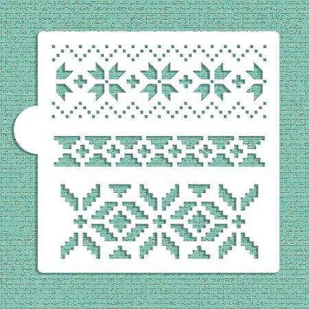 Designer Stencils Fair Isle Pattern Cookie and Craft Stencil CM030