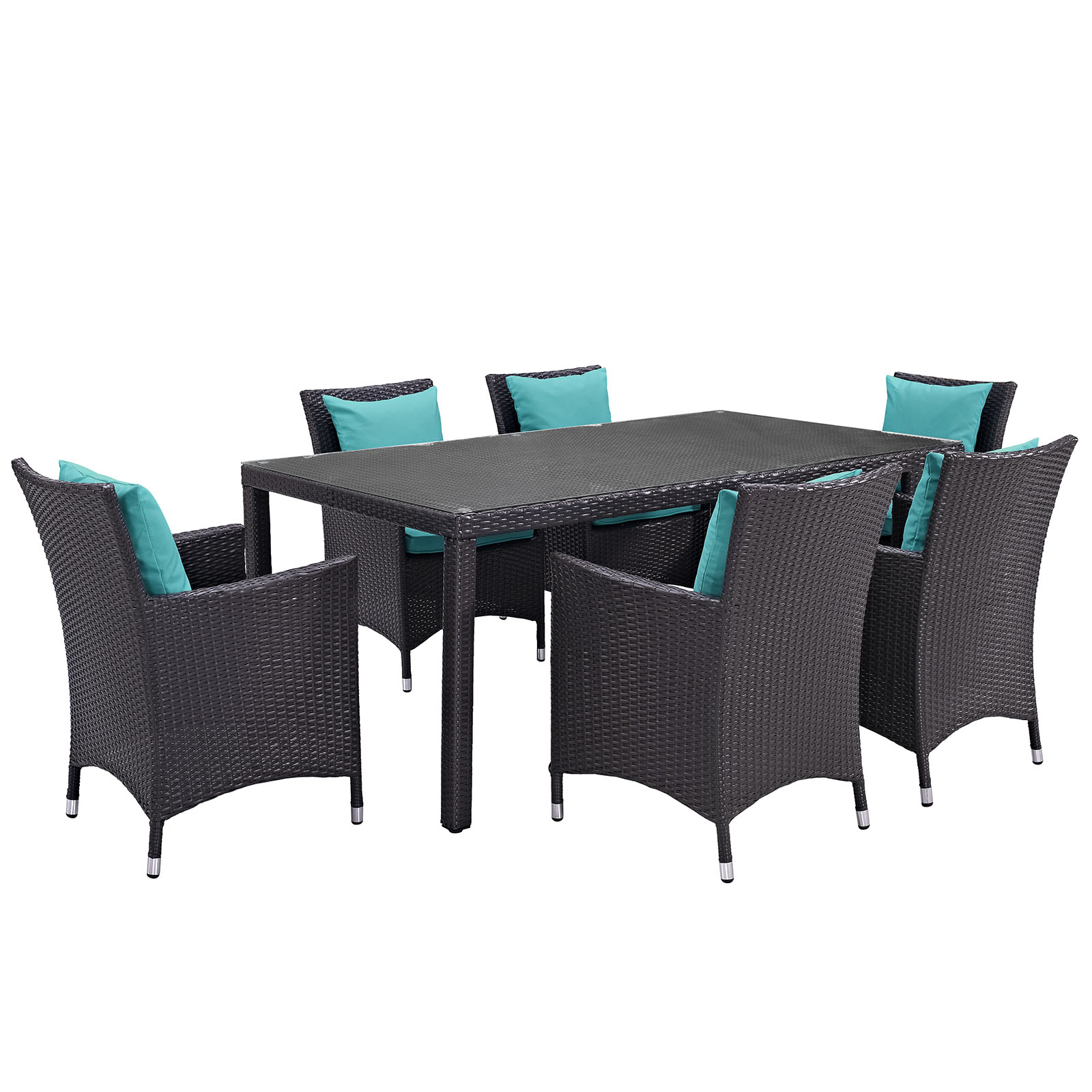 Modern Contemporary Urban Design Outdoor Patio Balcony Seven PCS Dining Chairs and Table Set, Blue, Rattan