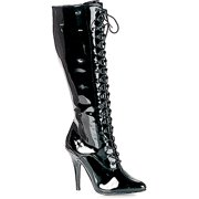 5 Inch Sexy Knee High Boot Lace Up With Side Zip Black Patent