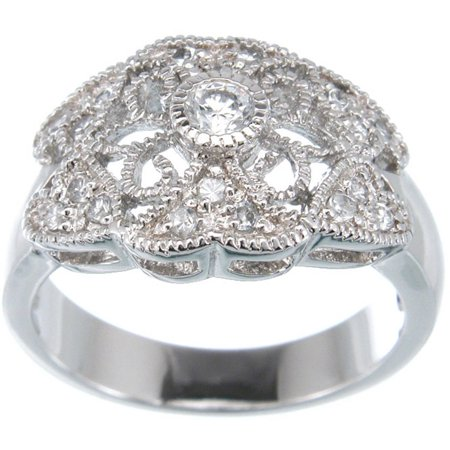- CZ Sterling Silver Platinum Finish Antique Style Ring