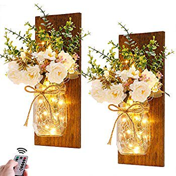 Rustic Wall Sconces Mason Jar Sconces Handmade Wall Art Hanging Design With Remote Control Led Fairy Lights And White Peony Farmhouse Kitchen Decorations Wall Home Decor Living Room Lights Set Of Two