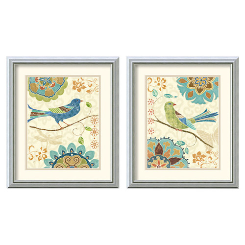 Amanti Art 'Eastern Tale Birds' by Daphne Brissonnet 2 Piece Framed Painting Print Set by Amanti Art