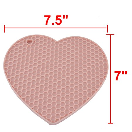 Silicone Heart Shaped Honeycomb Pattern Heat Resistant Tableware Pot Pad Pink - image 2 de 4