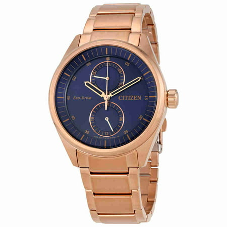 Citizen Paradex Blue Dial Mens Rose Gold Tone Watch Bu3013 53l