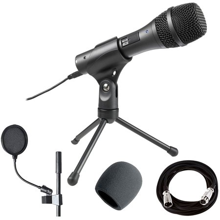 Audio-Technica AT2005USB Cardioid Dynamic USB/XLR Mic + Pop Filter + Cable +Foam