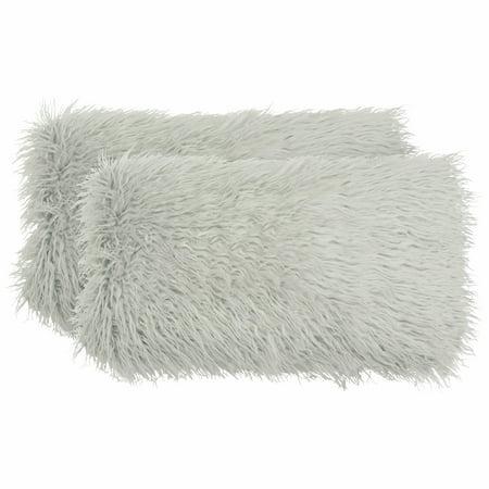 Boho Living Mongolian Faux Fur 2-Piece Decorative Lumbar Pillow Set, Light Grey