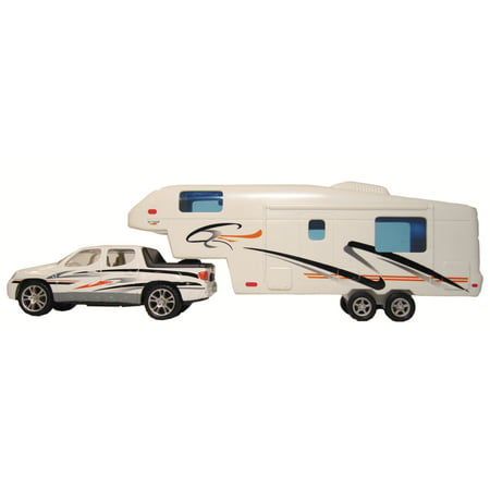 Prime Products 27-0020 Mini Pick Up Truck and 5th Wheel Trailer Hitch and RV Camper Toy Model