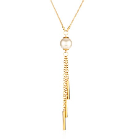 Faux Pearl Gold Plated Stainless Steel Tassel Pendant (2mm) - (Plated Faux Pearl)
