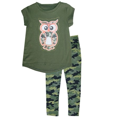 Baby Girls Dark Green Owl Detail Hi-Low Top Camouflage 2 Pc Pant Outfit