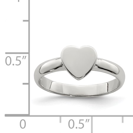 925 Sterling Silver Heart Band Ring Size 4.00 Baby Fine Jewelry Gifts For Women For Her - image 1 de 6