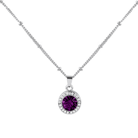 Lux Accessories Amethyst February Febuary Birthstone Pendant Disc Pave Charm Pendant Necklace Birthday Stone