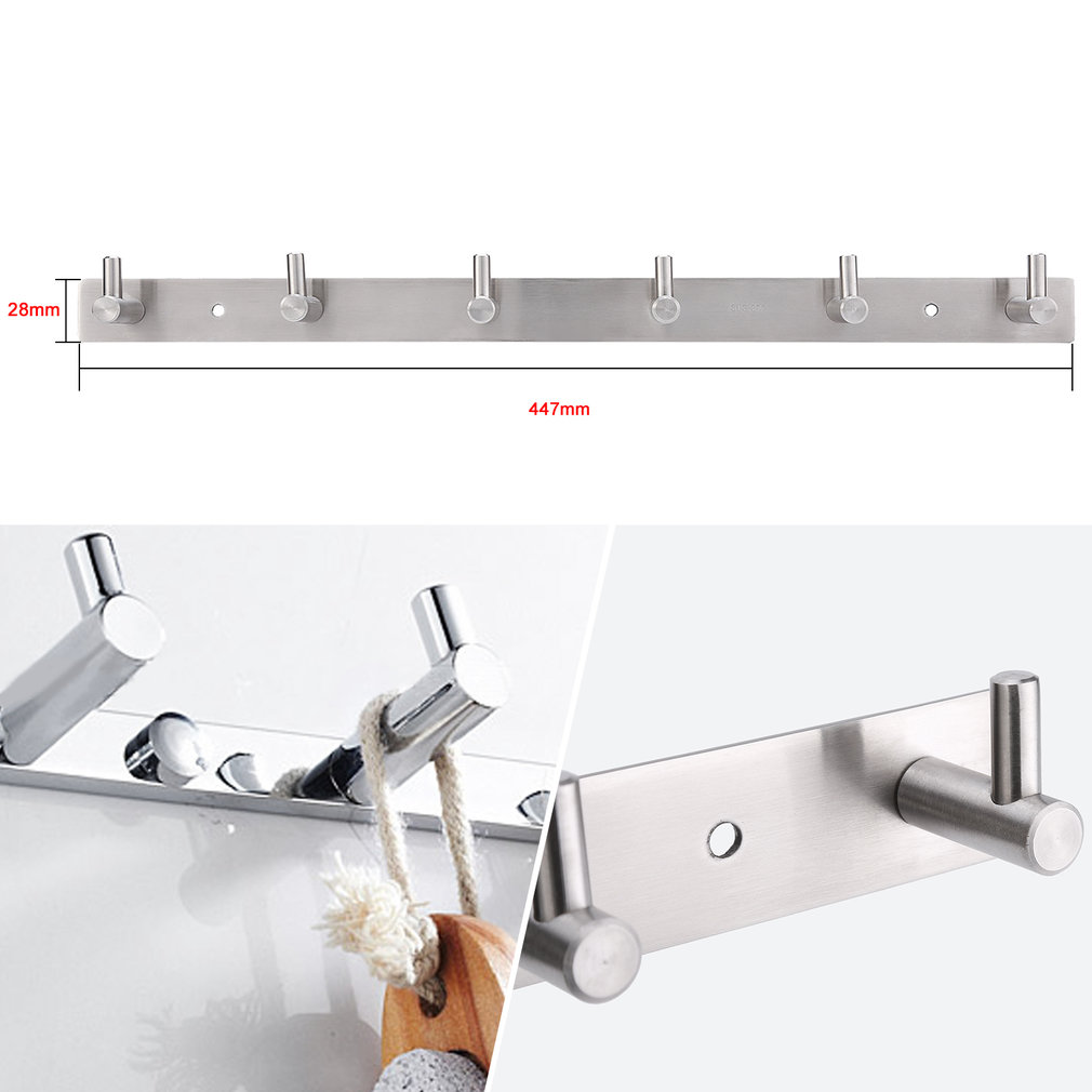 6 Hangers Stainless Steel Wall Mounted Hook Rack Rail Kitchen Cabinet Wall Door Clothes Key Hat Bag Hanger Hook Holder, 1#