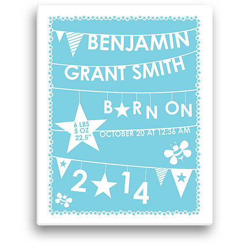 "Personalized Boy's Birth Info 11"" x 14"" Canvas"