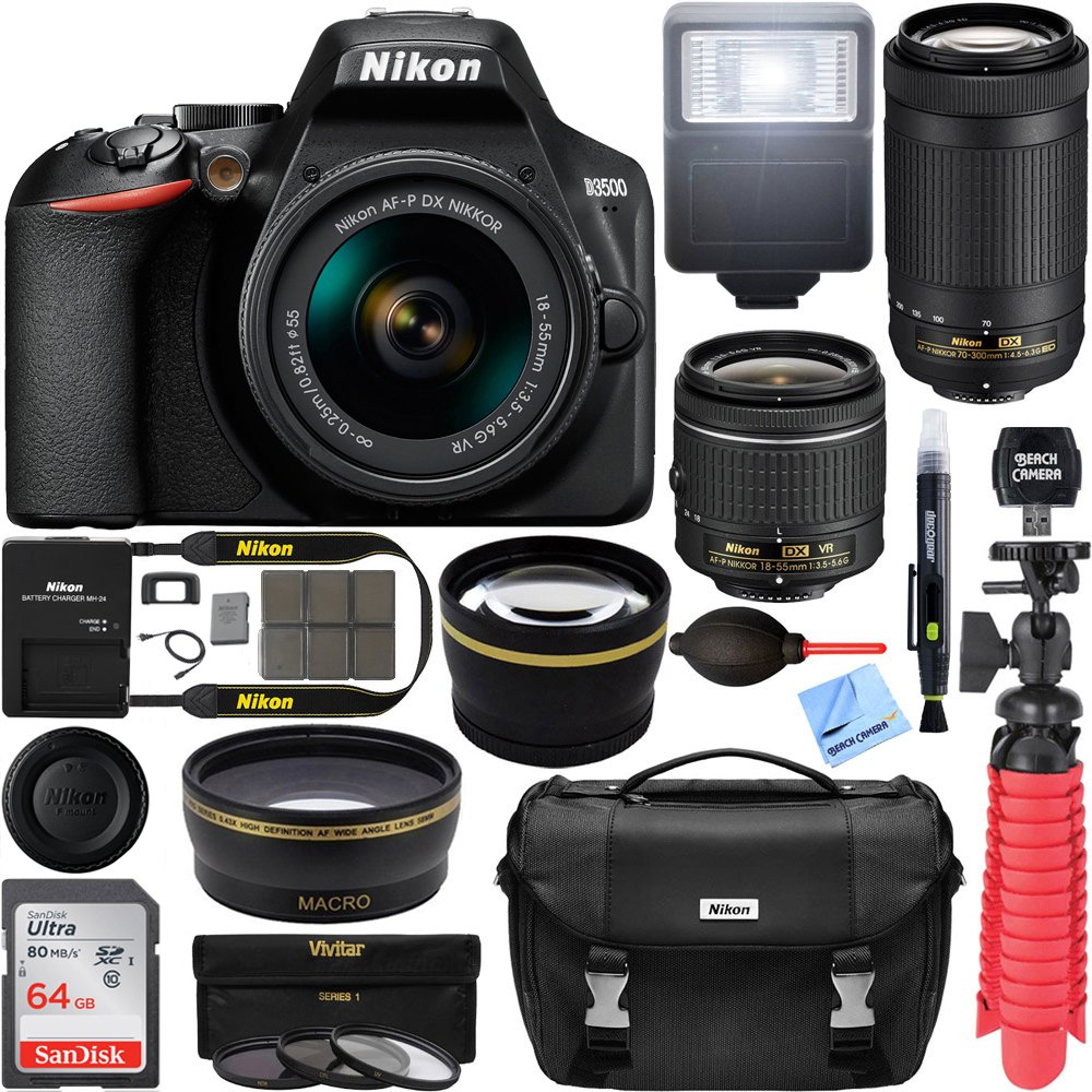 Nikon D3500 DSLR Camera w/ AF-P DX 18-55mm & 70-300mm Zoom Lens 64GB Accessory Bundle