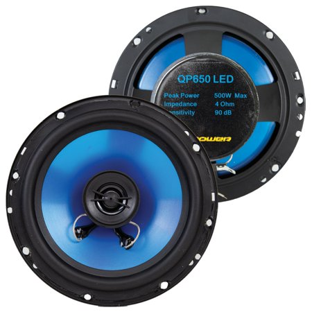 Q Power 6.5 Inch 500 Watt 2-Way Blue Car Audio Stereo Coaxial LED Speakers, Pair