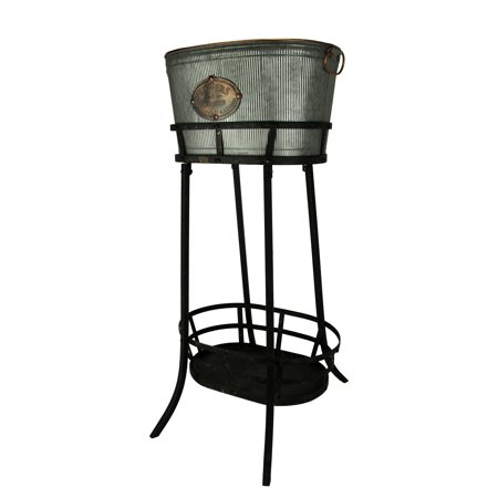 Antiqued Ribbed Metal Flowers and Garden Decorative Ice Tub On Stand - image 3 of 3