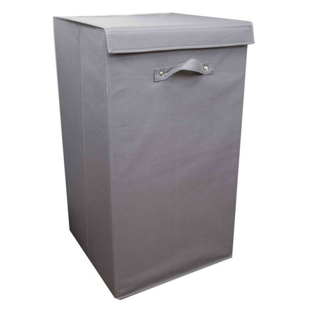 Home Basics 600D Polyester Laundry Hamper, Grey ()