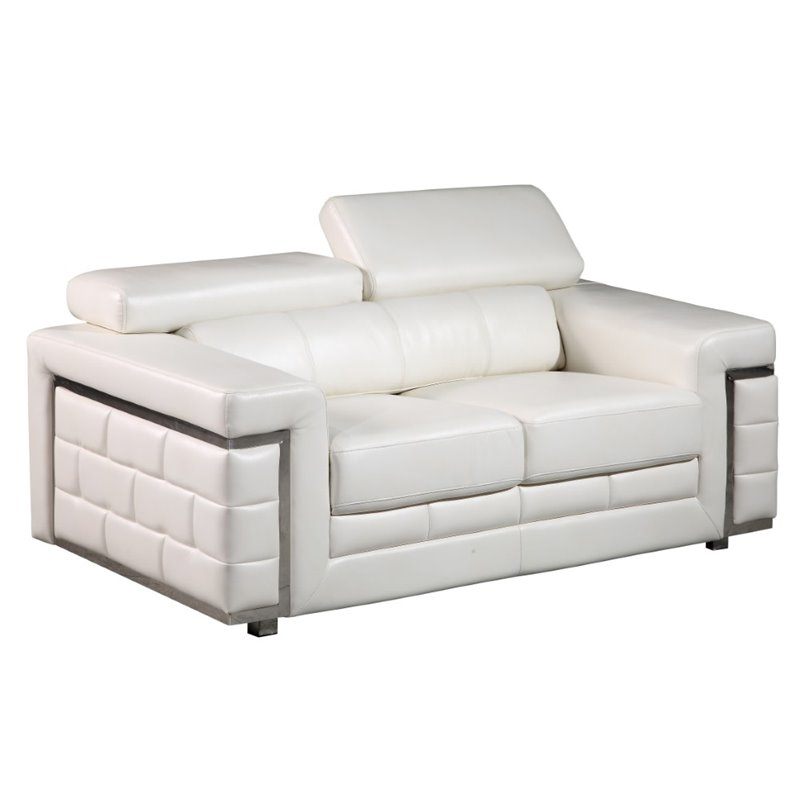 Global Furniture Loveseat in Brilliant Pure White Leather