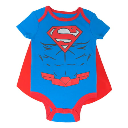 Cute Baby Halloween Ideas (Justice League Superman Baby Boys' Bodysuit and Cape Set with Muscles (Blue, 0-3)