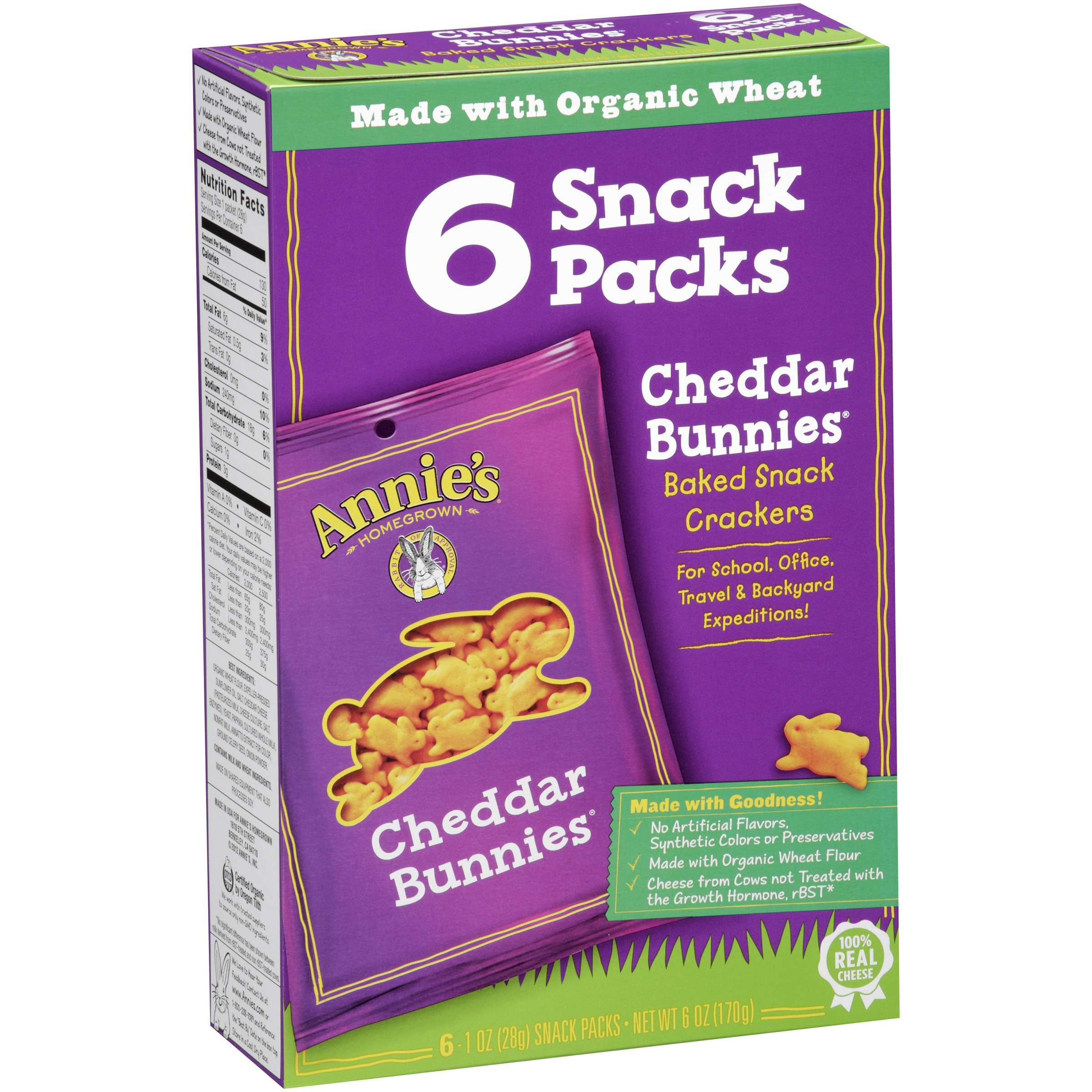 Annie's Homegrown Baked Snack Crackers Cheddar Bunnies 6 CT by Annie's, Inc.