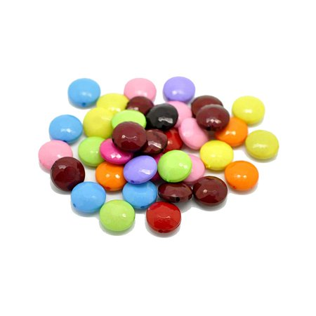 Acrylic Puffed Coin Mixed 14mm, Loose Beads,, 90 Pack (1.2mm Hole) ()