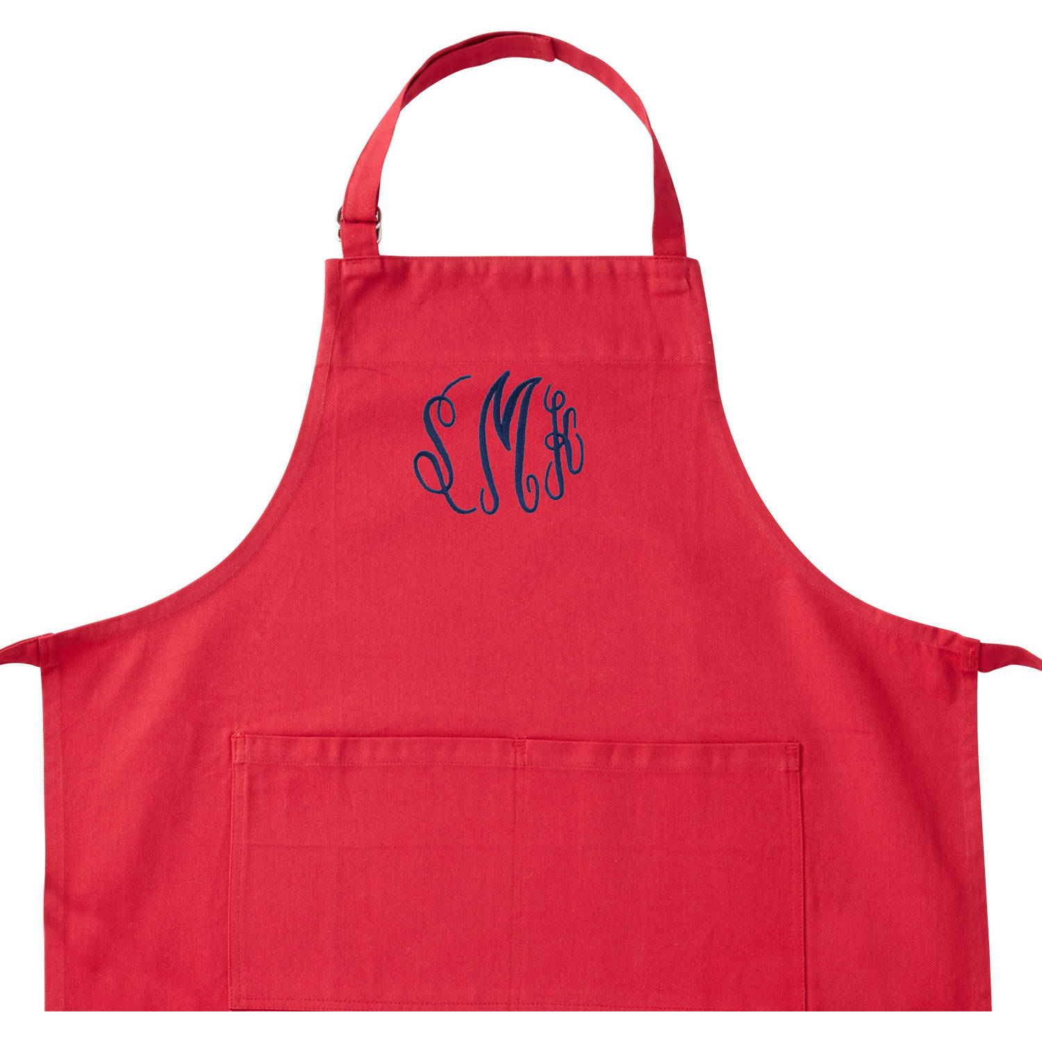 Personalized Embroidered Monogram Red Apron, Navy Thread, Script Font