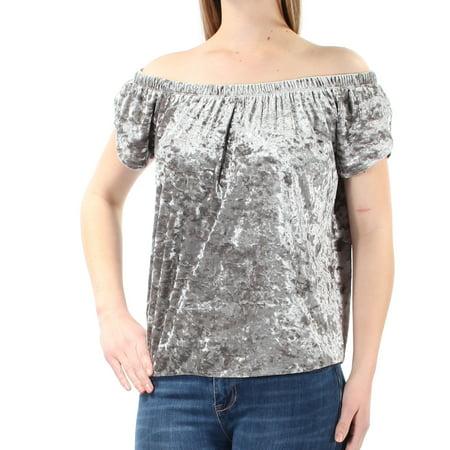 Ladies Silver Rose - HIPPIE ROSE Womens Silver Crushed Velvet Short Sleeve Off Shoulder Top Juniors  Size: M