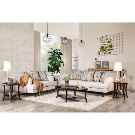 Chania Mid Century Modern Style Sofa Set Upholstered in Beige Fabric