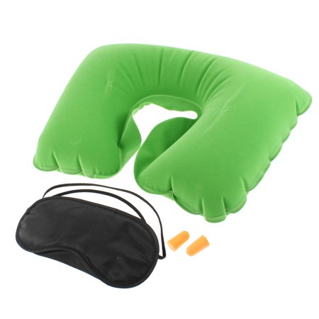 Eze Pillow - Unique Bargains Travel Sleeping Fleece Inflatable Neck Pillow Cushion Eye Mask Earplug 3 in 1