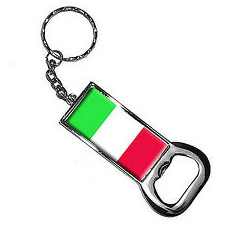 Italy Flag Keychain Key Chain Ring Bottle Bottlecap Opener