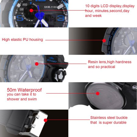 OUTAD Skmei Waterproof Big Dial LCD Display 10 Digits Digital Men'S Student Watch