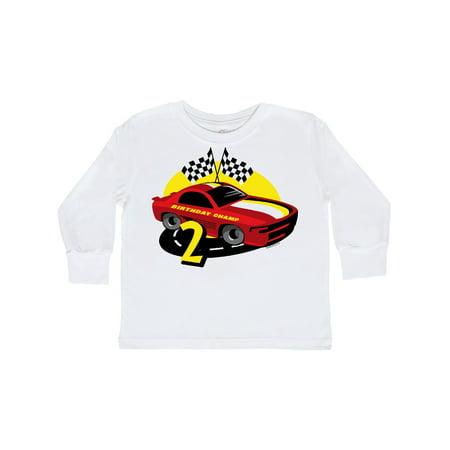 Race Car 2nd Birthday Toddler Long Sleeve T-Shirt - Race Car Outfits