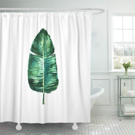 PKNMT Colorful Tropical Watercolor Banana Leaf Green Paint Beautiful Beauty Botanical Shower Curtain Bath Curtain 66x72 inch