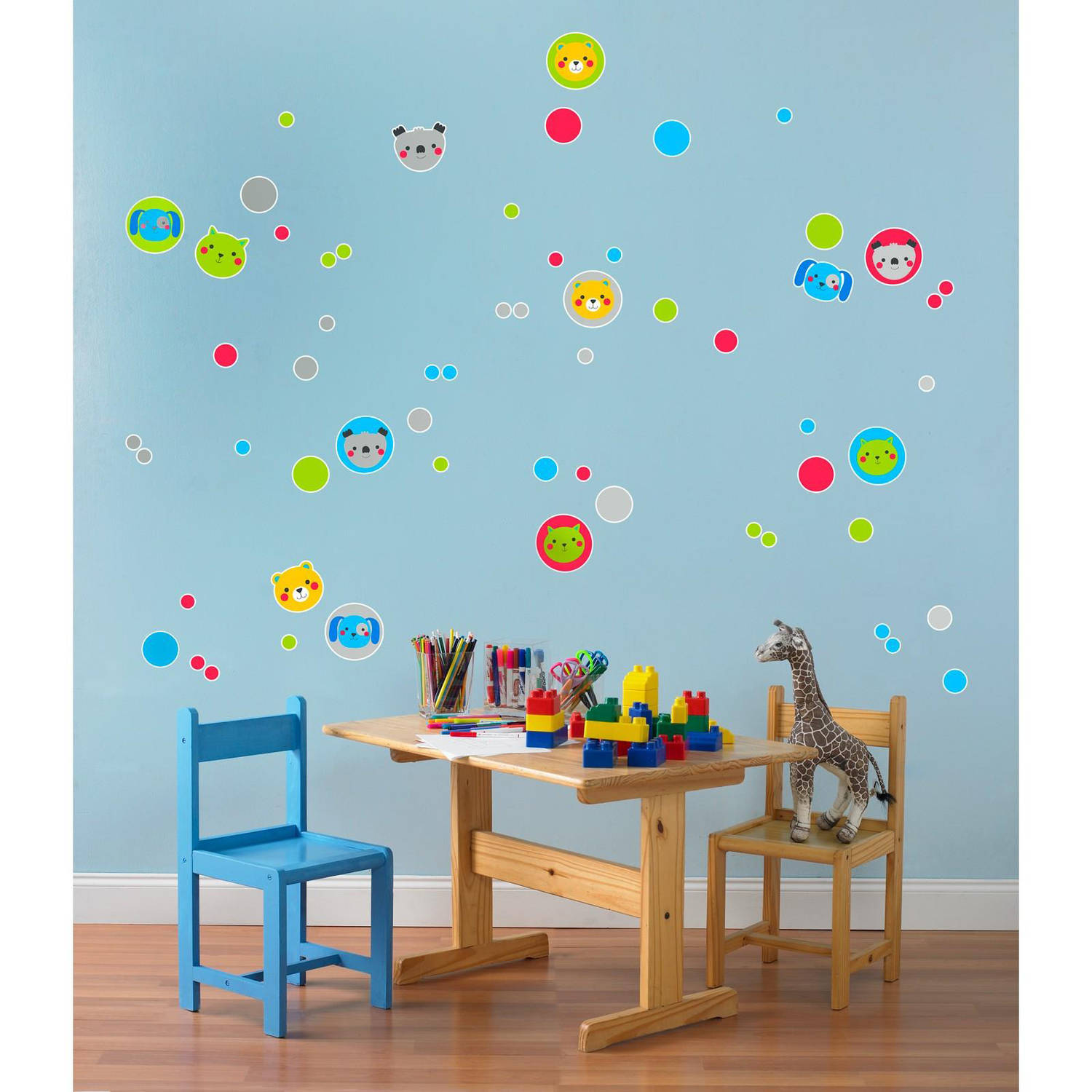 Animals and Dots Small Wall Decal