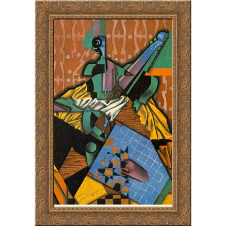 Photograph of Violin and Checkerboard 24x18 Gold Ornate Wood Framed Canvas Art by Juan Gris