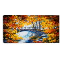DESIGN ART Designart - Fall Forest with a Bridge - Landscape Canvas Artwork - Orange