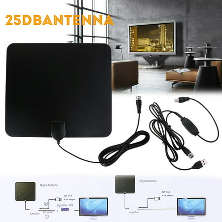 TV Antenna, 110 Miles Range, 4K HD VHF UHF Freeview for Life Local Channels Broadcast for All Types of Home Smart Television, Never Pay Cable Fee (2018