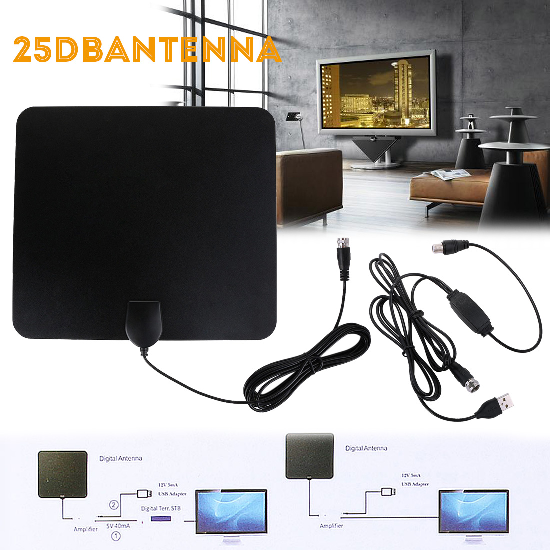TV Antenna, 110 Miles Range, 4K HD VHF UHF Freeview for Life Local Channels Broadcast for All Types of Home Smart Television, Never Pay Cable Fee (2018 Upgraded)