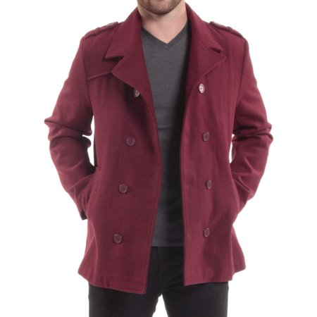 (Alpine Swiss Jake Mens Pea Coat Wool Blend Double Breasted Dress Jacket Peacoat)