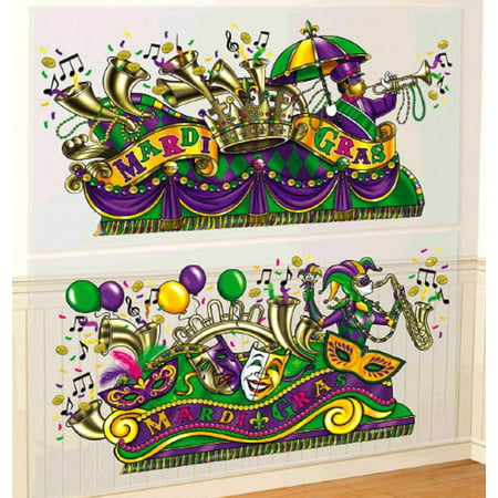 Mardi Gras Parade Float Scene Setter Wall Decoration Kit