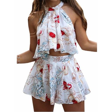 Summer Sleeveless Fashion Print 2 Pieces Set Tank Tops & Shorts