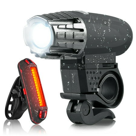 LED Bike Light High Bright USB Rechargeable Bicycle Light Set Headlights and Tail Lights for Mountain Bike and Road Bike Night Sports Cycling Safety Bike Lights Kit for Hybrid Road MTB ()