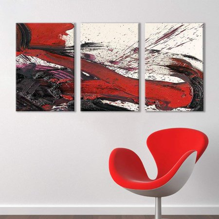 wall26 - 3 Panel Canvas Wall Art - Black and Red Abstract Splattered Brush Stroke - Giclee Print Gallery Wrap Modern Home Decor Ready to Hang - 24