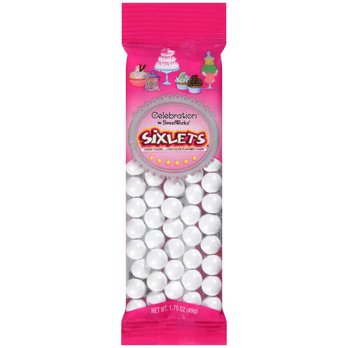 Celebration Shimmer White Sixlets Candy, 1.75 oz