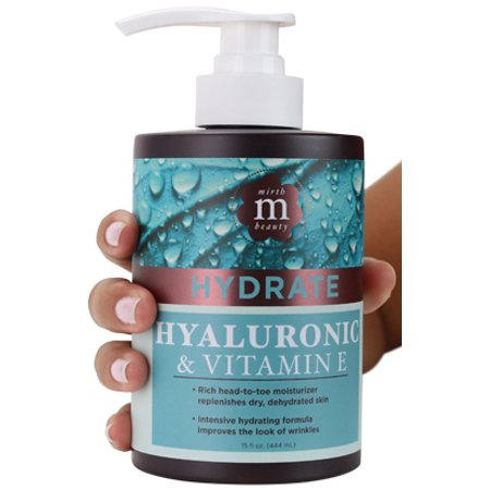 Mirth Beauty Hyaluronic Acid Cream for Face and Body.  With Coconut Oil, Vitamin E, Aloe Vera, Shea Butter. Large 15oz jar with pump