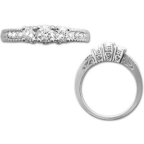 1/2 Carat T.W. Diamond Three-Stone 14kt White Gold Ring