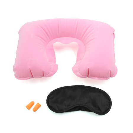 Unique Bargains 3 In 1 Pink Travel Set Neck Air Pillow Eyes Mask Earplug Comfortable Trip Kit