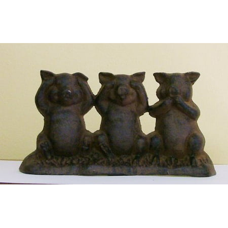 Hear No Evil, See No Evil, Speak No Evil Cast Iron Pigs Door Stop