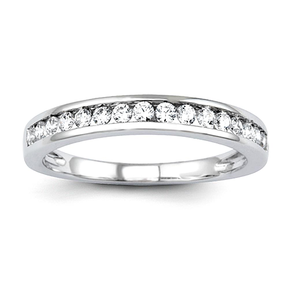 14K White Gold Diamond Wedding Band size 7