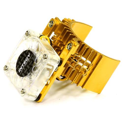 Integy RC Toy Model Hop-ups T8074GOLD Motor Heatsink 540 Size w/ Cooling Fan for Slash, Stampede 2WD, Rustler & Bandit